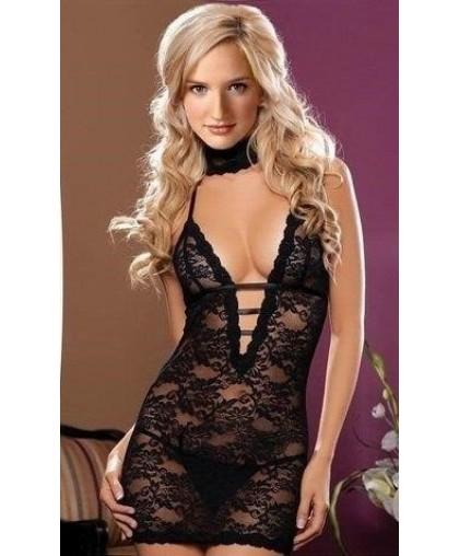 Платье кружевное короткое черное