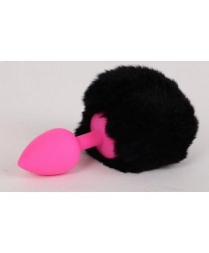 Пробка силиконовая с черным хвостом Задорный Кролик