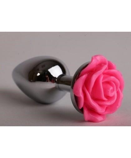 Анальная пробка из металла с розой