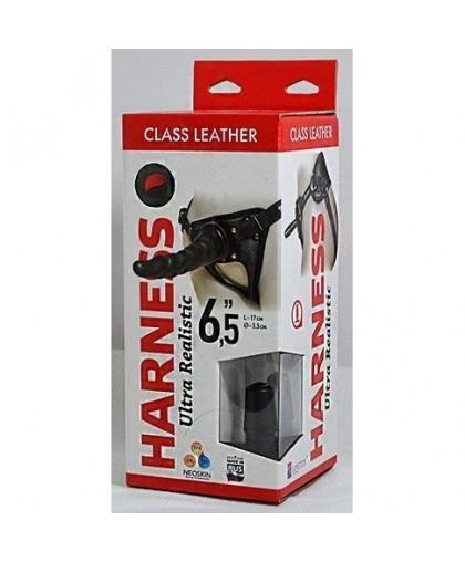 """Кожаные трусики с насадкой Harness Ultra Realistic 6,5"""""""