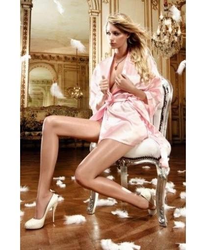 Пеньюар сатиновый с поясом розовый
