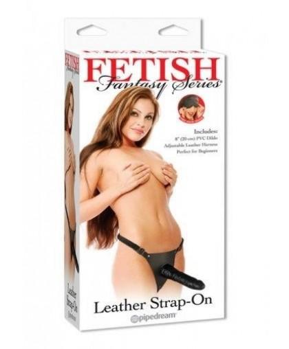 Черный страпон Leather Strap-On