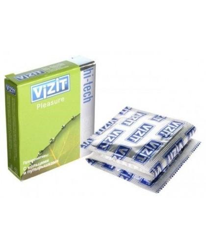 Презервативы VIZIT Hi-tech PLEASURE с кольцами и пупырышками, 3 шт