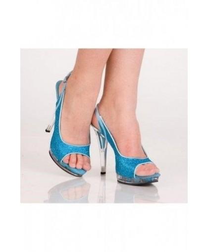 Туфли синие с блестками