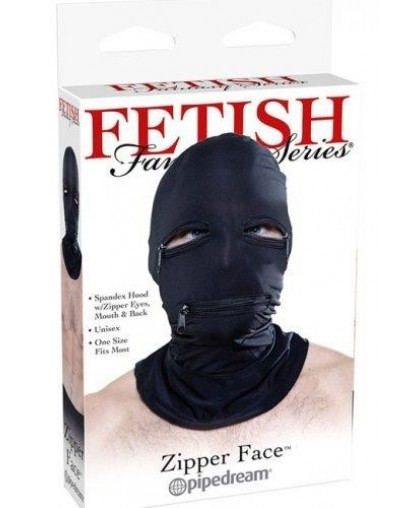 Эластичный шлем для эротических игр Zipper Face