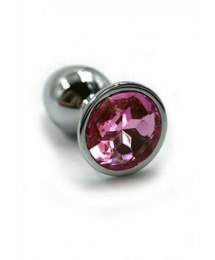 Металлическая анальная пробка light pink medium