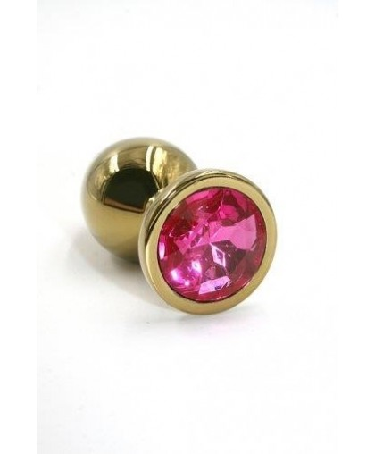 Металлическая анальная пробка Medium dark pink gold
