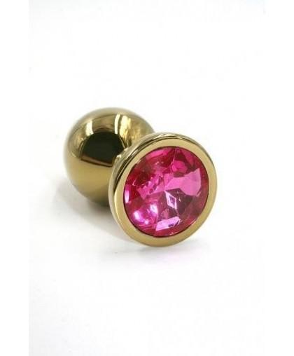 Металлическая анальная пробка Small dark pink gold