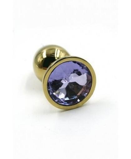 Металлическая анальная пробка Gold Small light purple