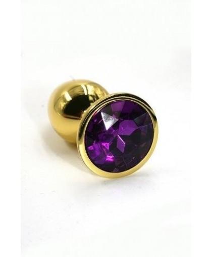 Металлическая анальная пробка Medium dark purple Gold