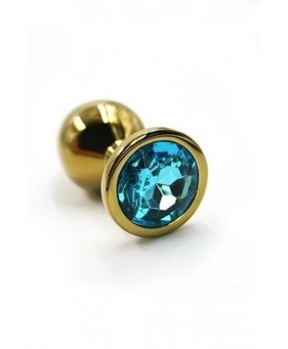 Металлическая анальная пробка Medium Gold light blue