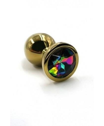 Металлическая анальная пробка Medium rainbow gold