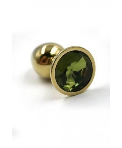 Металлическая анальная пробка Medium light green gold