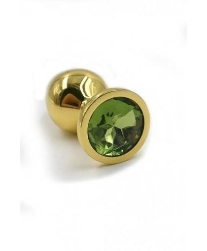 Металлическая анальная пробка Small light green gold