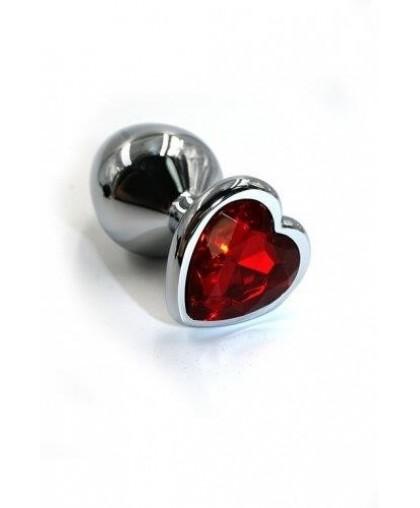 Металлическая анальная пробка Medium red heart