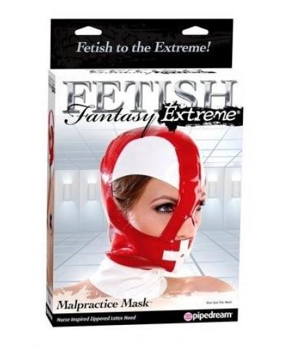 Маска медсестры на голову Malpractice Mask из винила красная