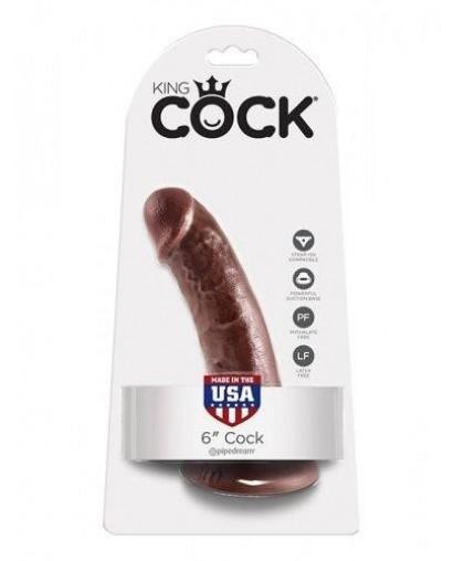 "Коричневый фаллоимитатор на присоске King Cock 6"""