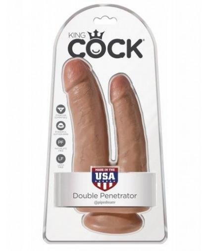 Фаллоимитатор анально-вагинальный загорелый King Cock Double Penetrator